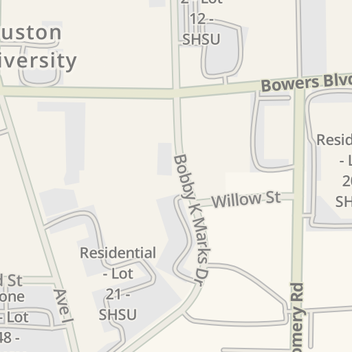Waze Livemap Driving Directions To Sam Houston State University